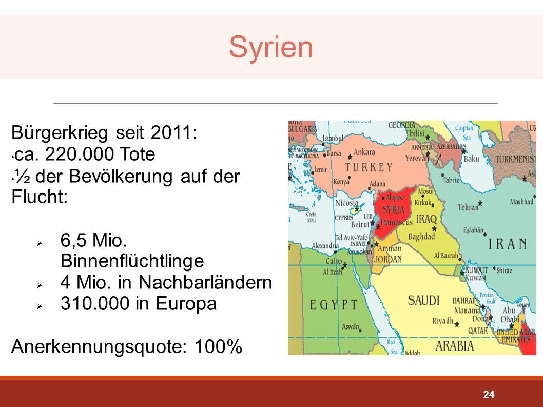 Syrien Bürgerkrieg seit 2011: ca. 220.000 Tote