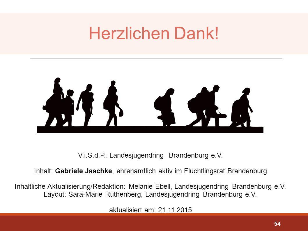 Herzlichen Dank! V.i.S.d.P.: Landesjugendring Brandenburg e.V. Inhalt: Gabriele Jaschke, ehrenamtlich aktiv im Flüchtlingsrat Brandenburg.