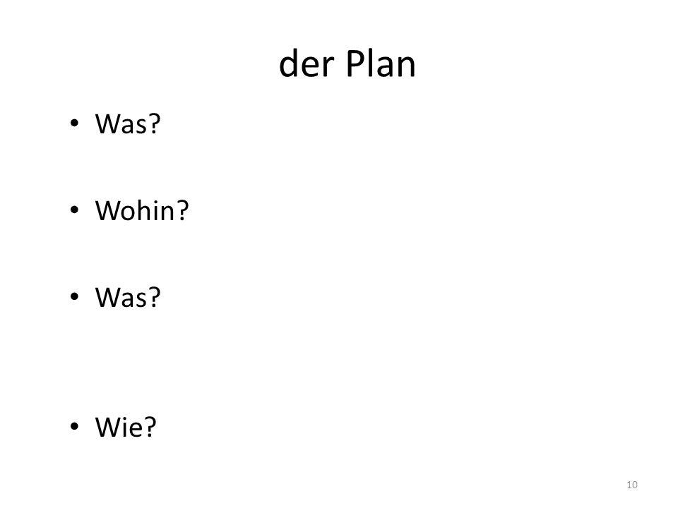 der Plan Was Wohin Wie