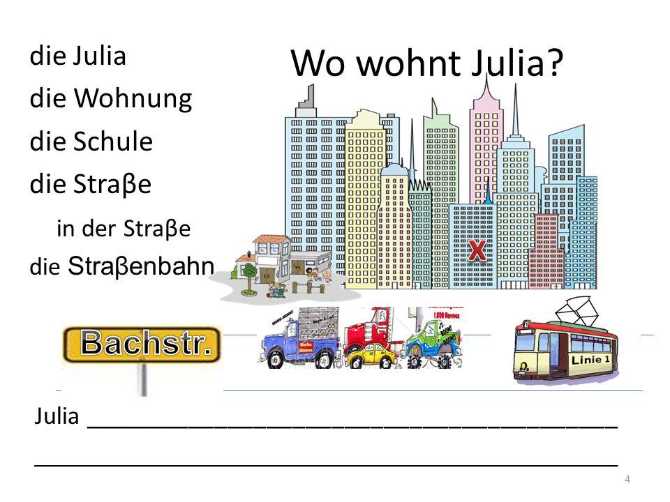 Wo wohnt Julia x Bachstr. die Julia die Wohnung die Schule die Straβe