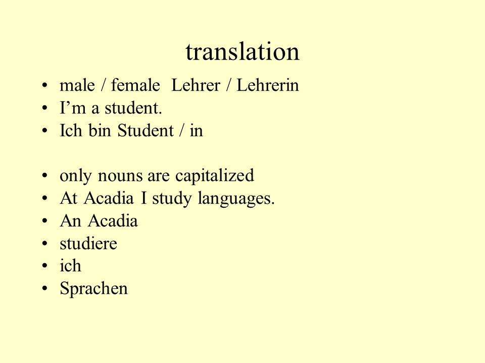 translation male / female Lehrer / Lehrerin I'm a student.