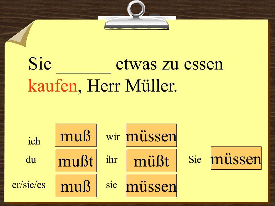Sie ______ etwas zu essen kaufen, Herr Müller.