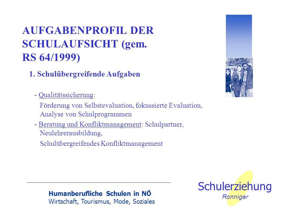 AUFGABENPROFIL DER SCHULAUFSICHT (gem. RS 64/1999)