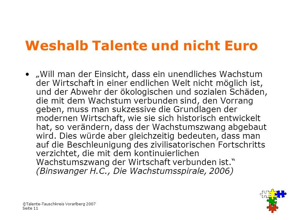 Weshalb Talente und nicht Euro