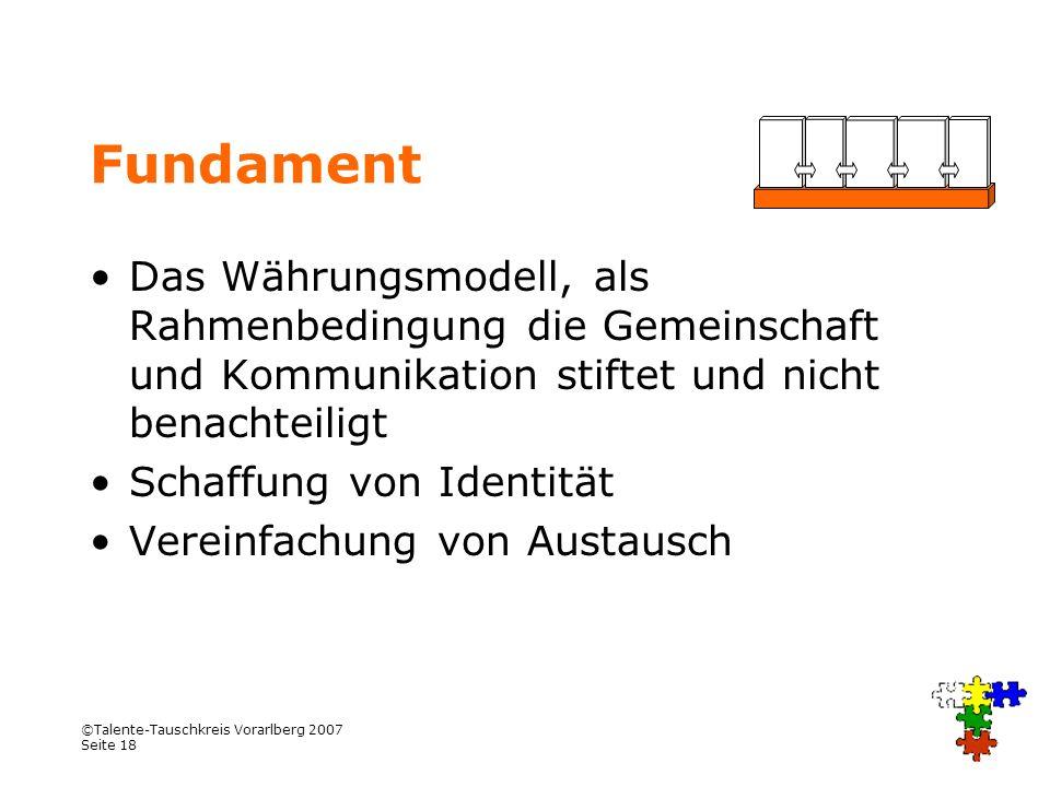 Fundament Das Währungsmodell, als Rahmenbedingung die Gemeinschaft und Kommunikation stiftet und nicht benachteiligt.