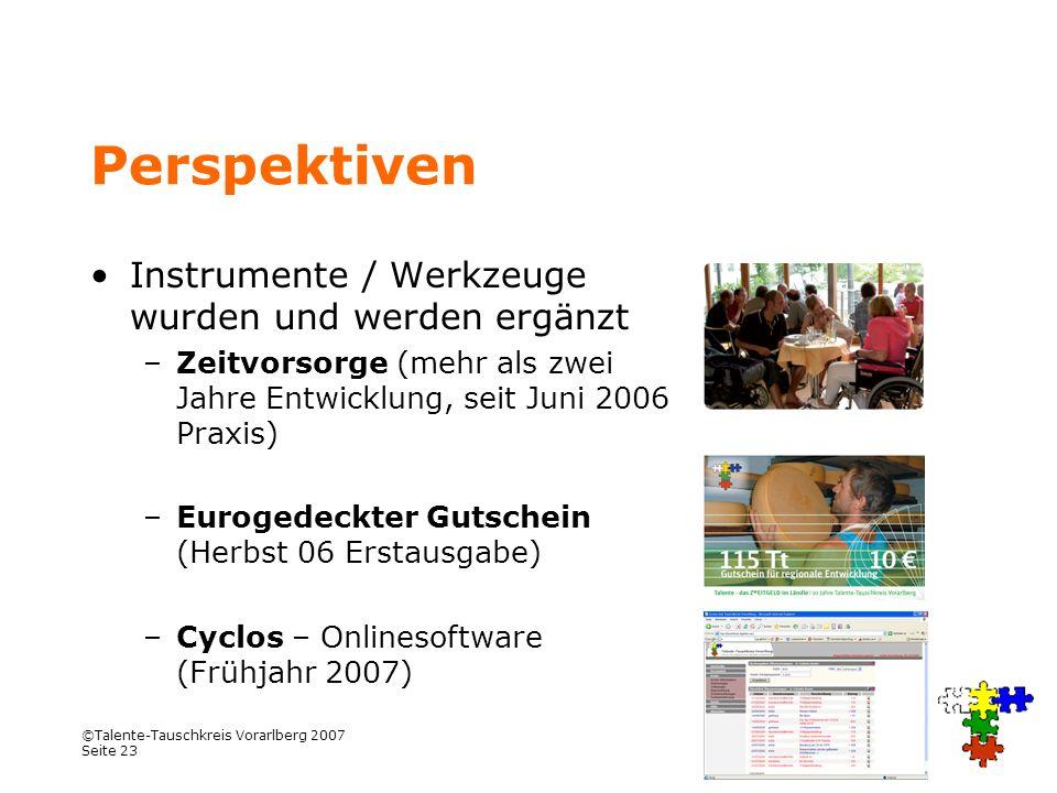 Perspektiven Instrumente / Werkzeuge wurden und werden ergänzt