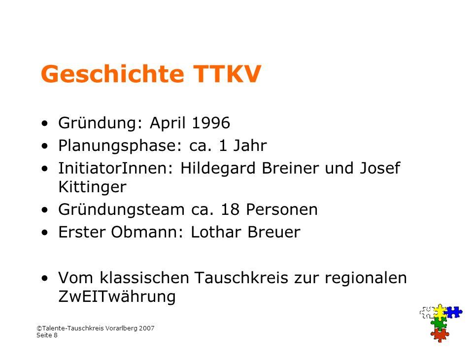 Geschichte TTKV Gründung: April 1996 Planungsphase: ca. 1 Jahr