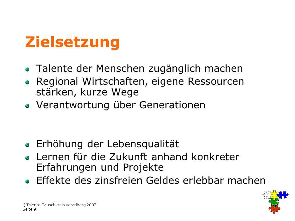 Zielsetzung Talente der Menschen zugänglich machen