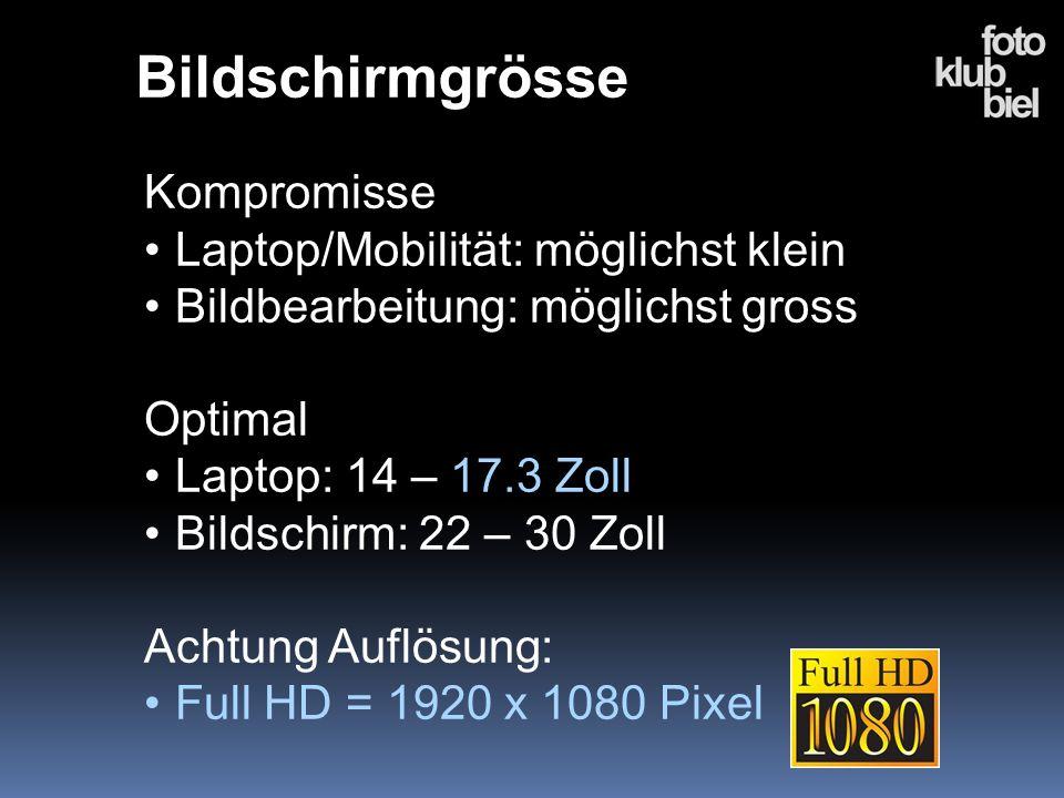 Bildschirmgrösse Kompromisse Laptop/Mobilität: möglichst klein