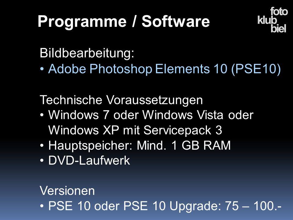 Programme / Software Bildbearbeitung: