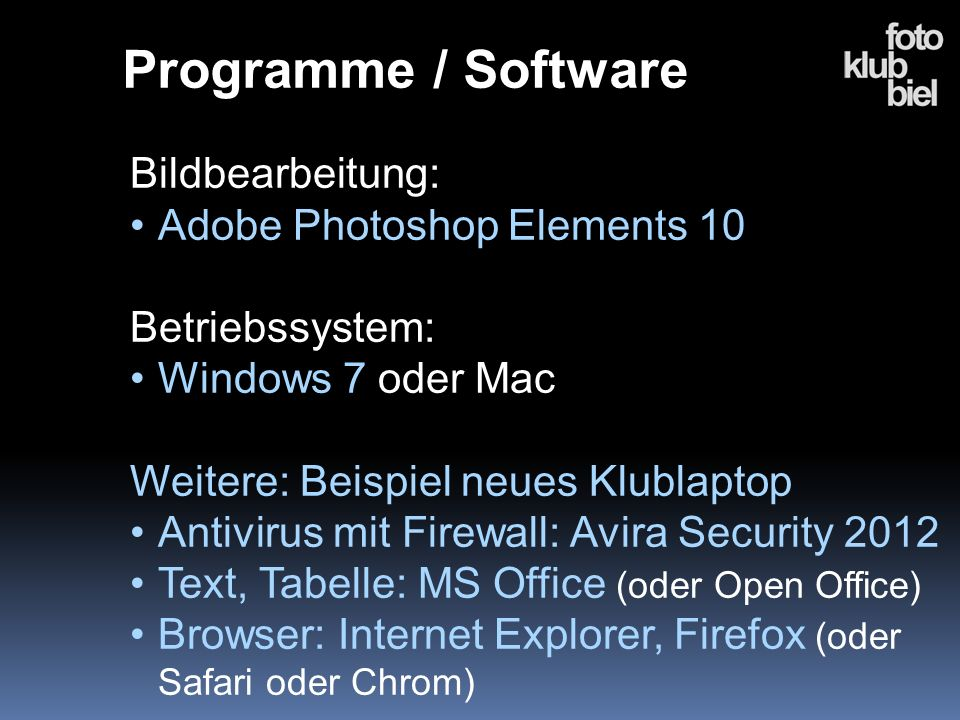 Programme / Software Bildbearbeitung: Adobe Photoshop Elements 10