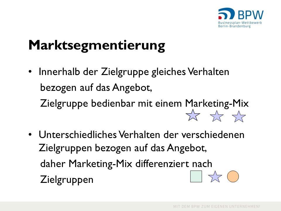 Marktsegmentierung Innerhalb der Zielgruppe gleiches Verhalten