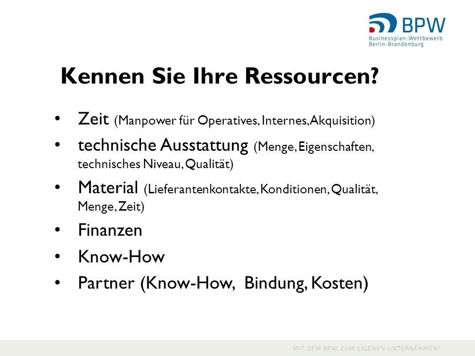 Kennen Sie Ihre Ressourcen