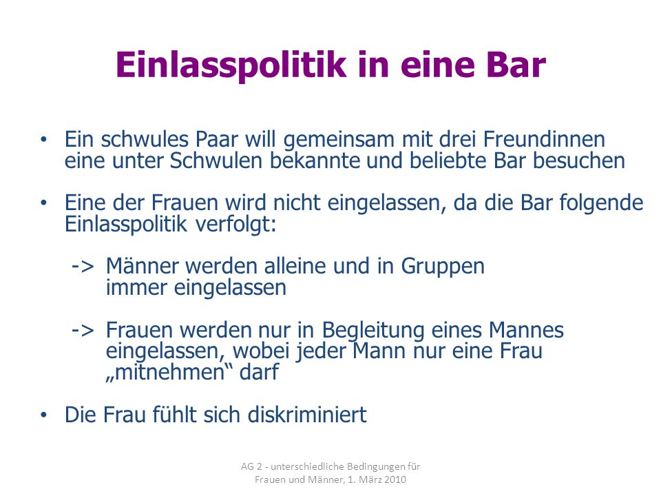 Einlasspolitik in eine Bar