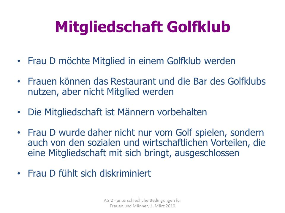 Mitgliedschaft Golfklub