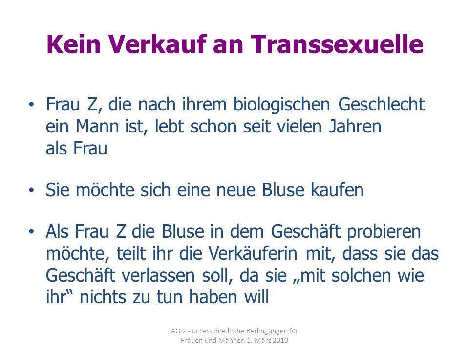 Kein Verkauf an Transsexuelle