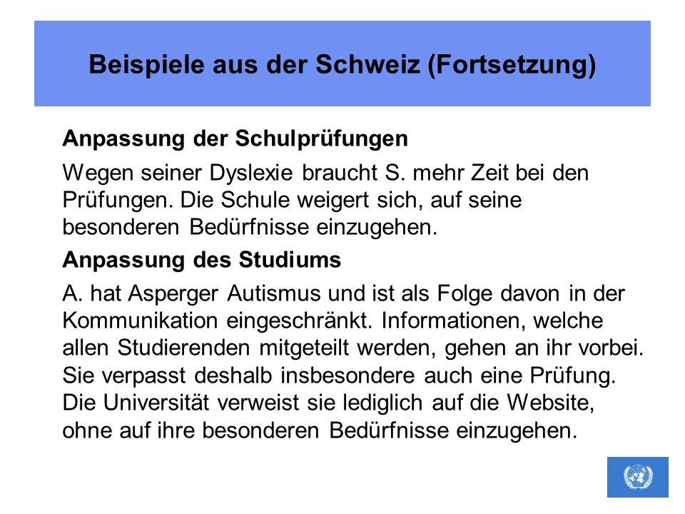 Beispiele aus der Schweiz (Fortsetzung)