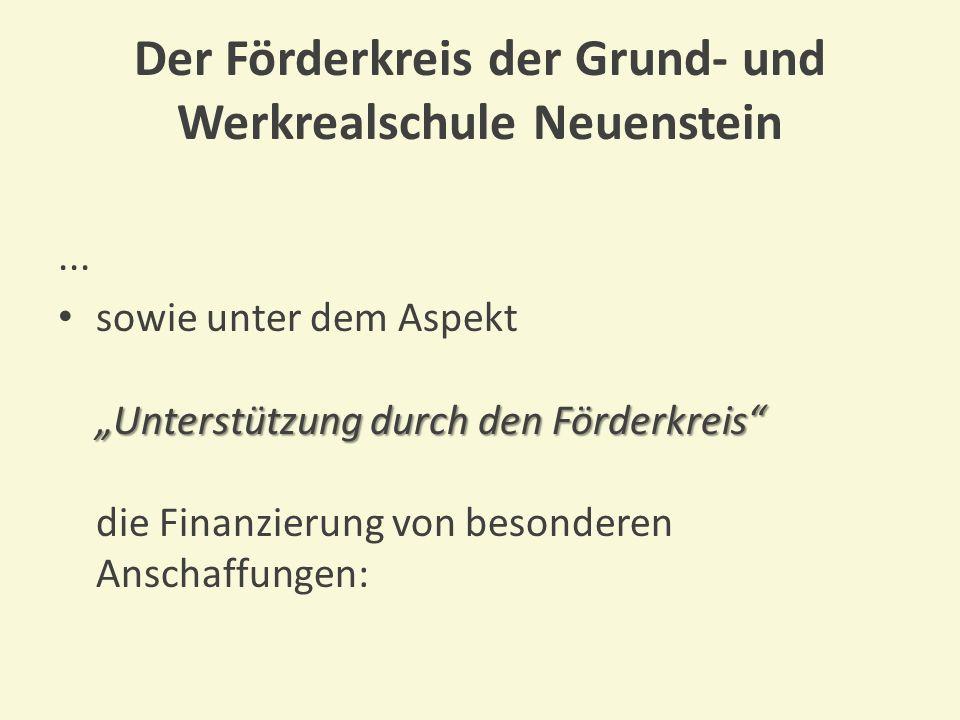 Der Förderkreis der Grund- und Werkrealschule Neuenstein