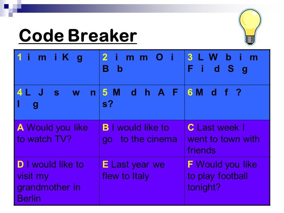 Code Breaker 1 i m i K g 2 i m m O i B b 3 L W b i m F i d S g