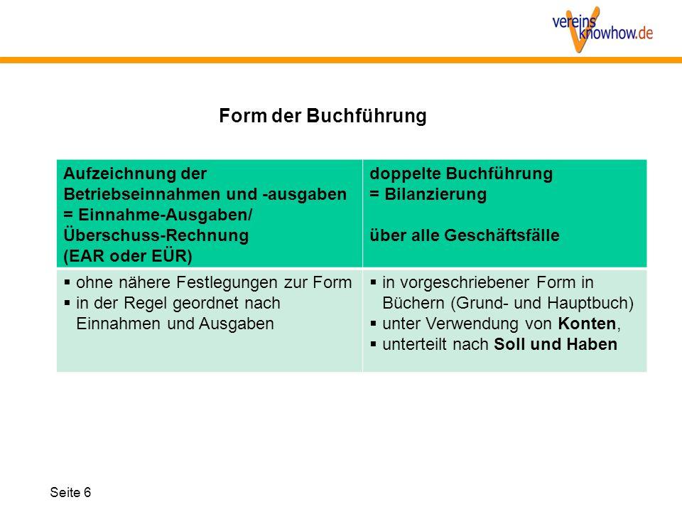 Form der Buchführung Aufzeichnung der Betriebseinnahmen und -ausgaben