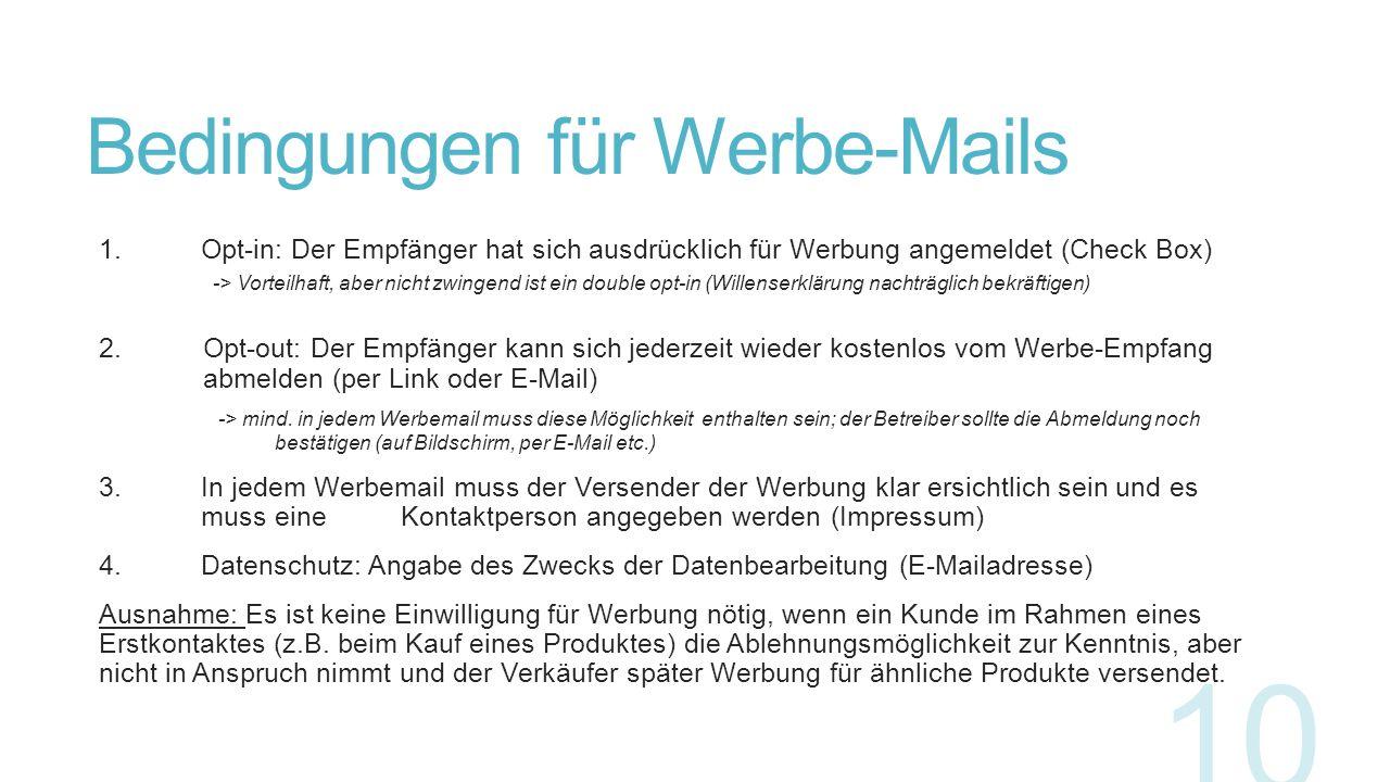 Bedingungen für Werbe-Mails