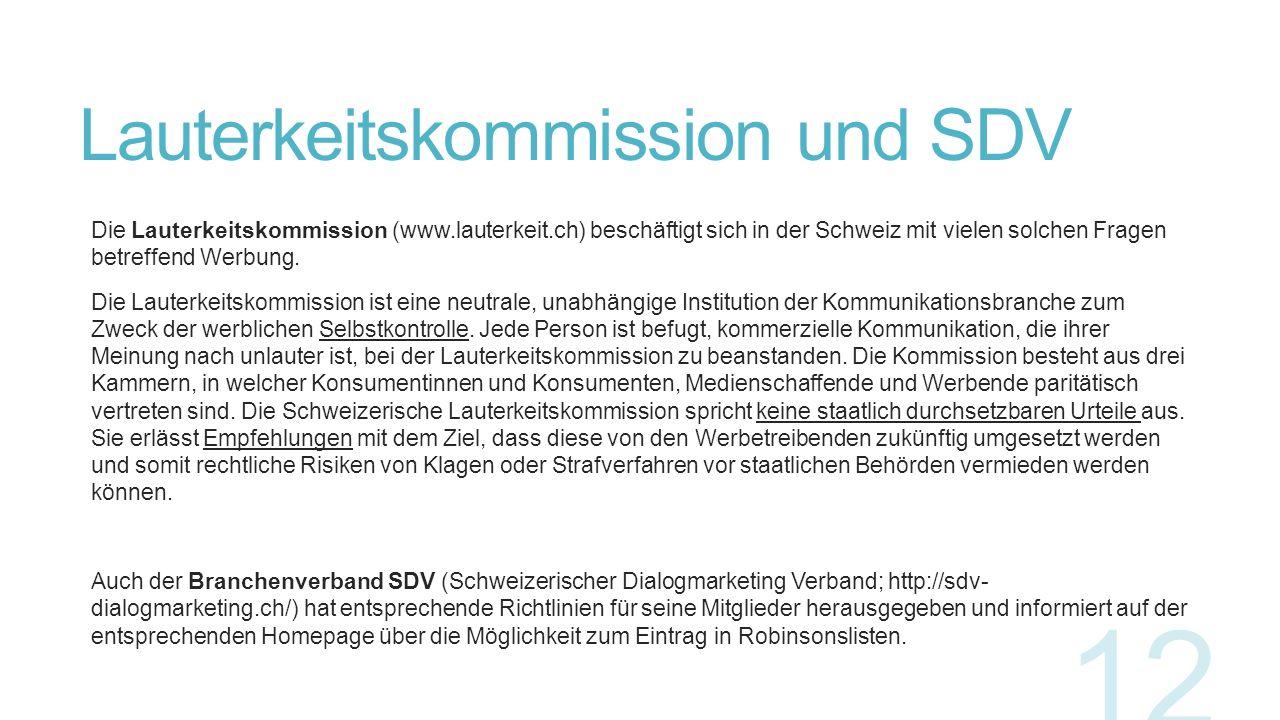 Lauterkeitskommission und SDV