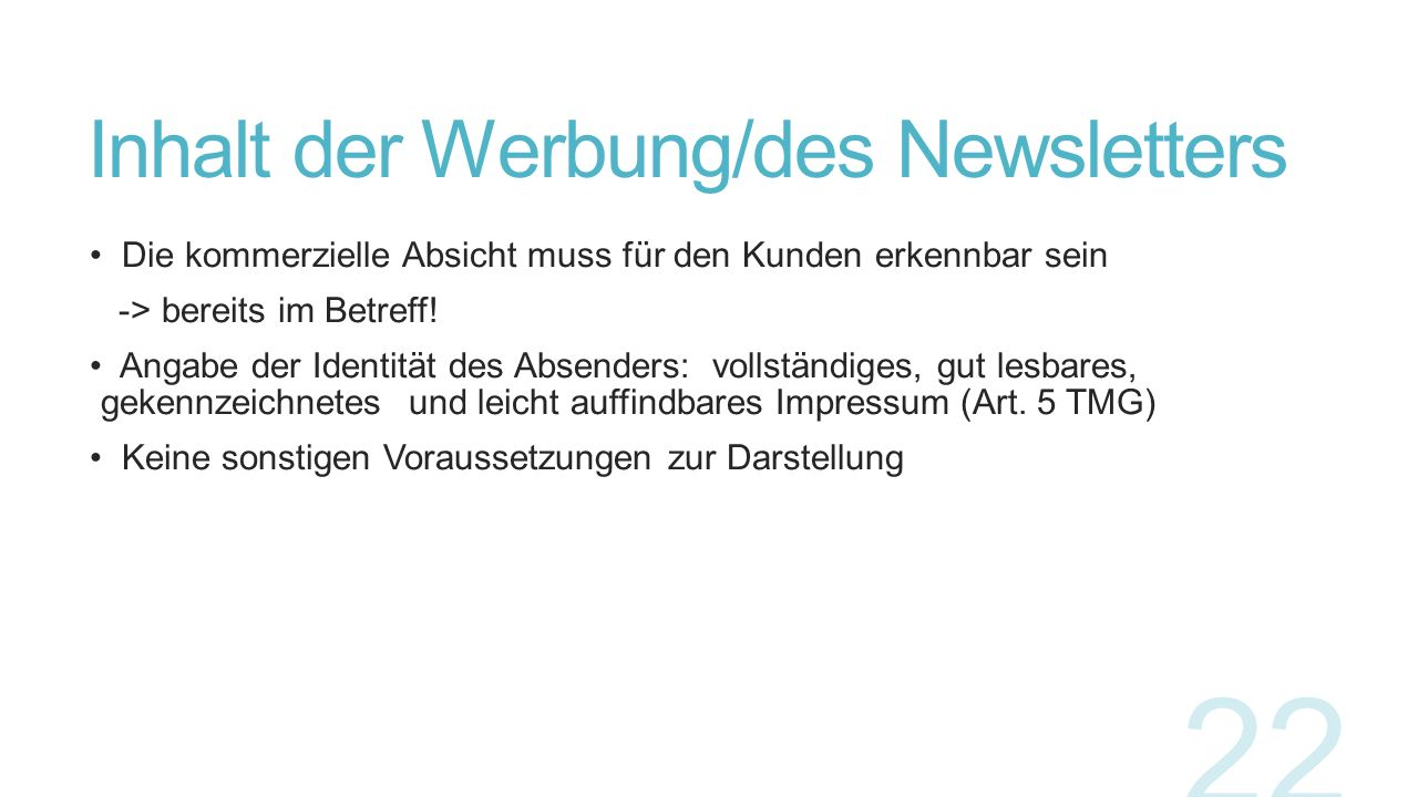 Inhalt der Werbung/des Newsletters