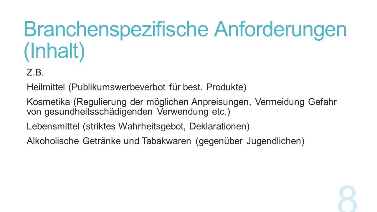 Branchenspezifische Anforderungen (Inhalt)