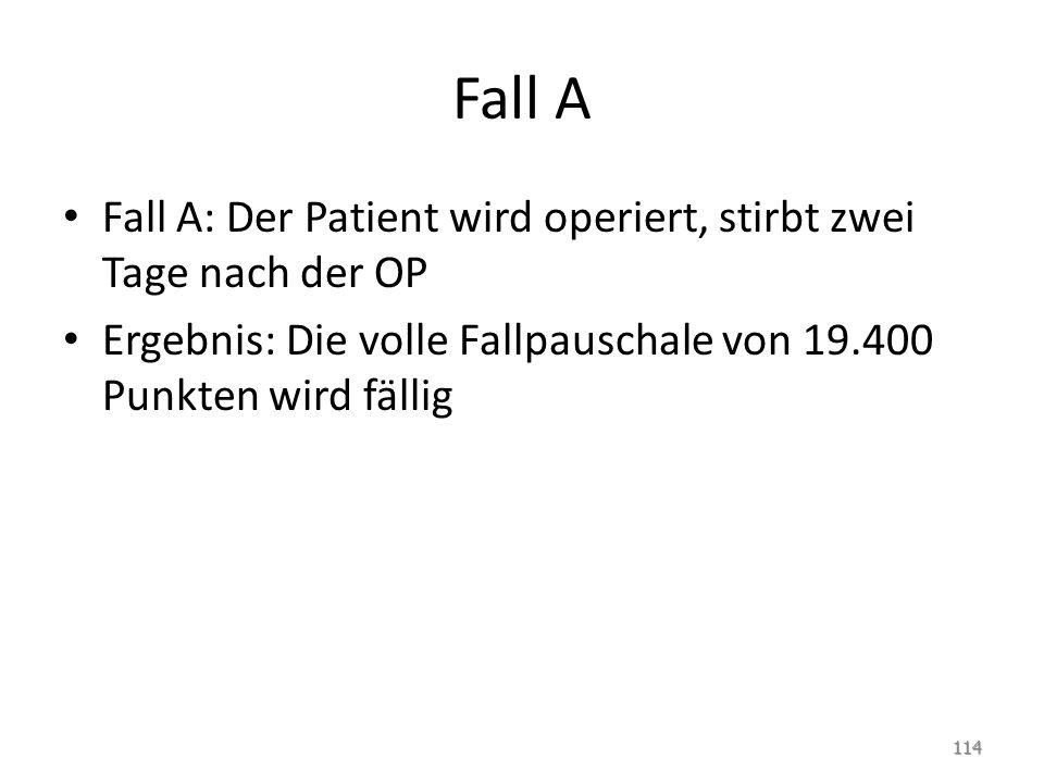 Fall A Fall A: Der Patient wird operiert, stirbt zwei Tage nach der OP
