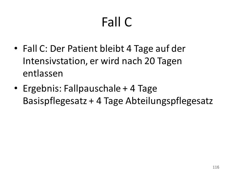 Fall C Fall C: Der Patient bleibt 4 Tage auf der Intensivstation, er wird nach 20 Tagen entlassen.