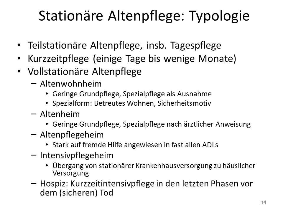 Stationäre Altenpflege: Typologie