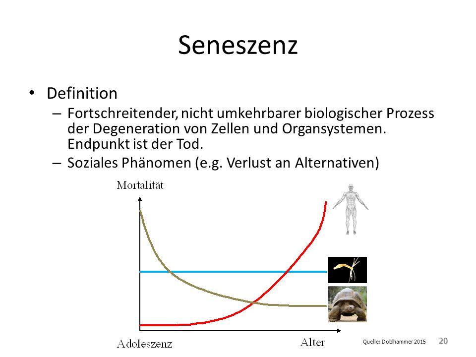 Seneszenz Definition. Fortschreitender, nicht umkehrbarer biologischer Prozess der Degeneration von Zellen und Organsystemen. Endpunkt ist der Tod.
