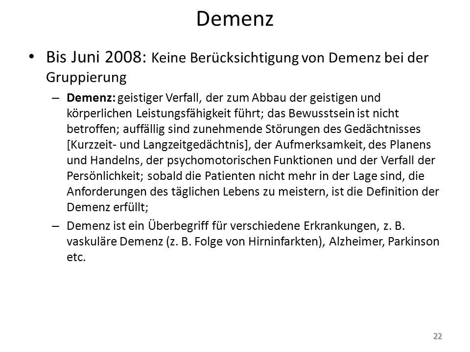 Demenz Bis Juni 2008: Keine Berücksichtigung von Demenz bei der Gruppierung.