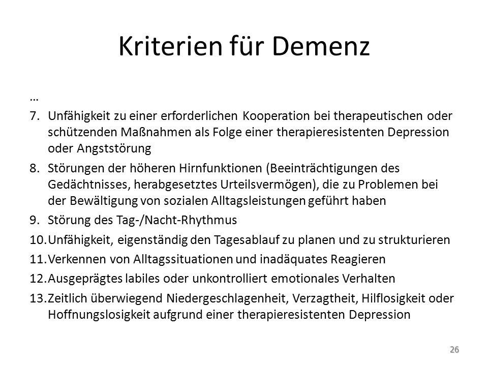 Kriterien für Demenz …
