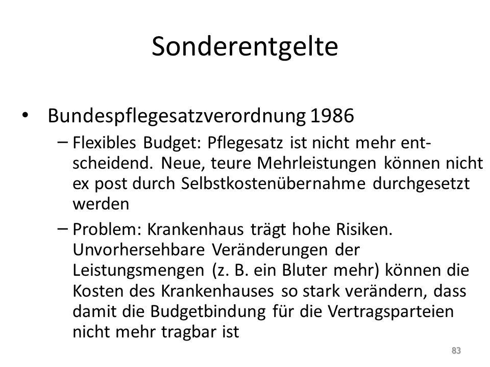Sonderentgelte Bundespflegesatzverordnung 1986