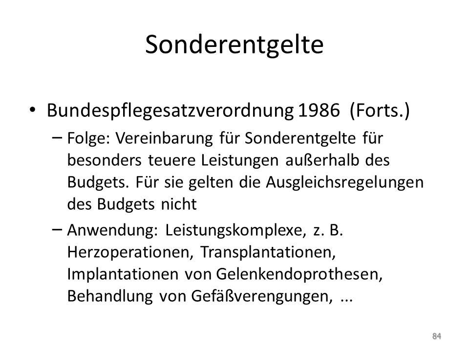 Sonderentgelte Bundespflegesatzverordnung 1986 (Forts.)
