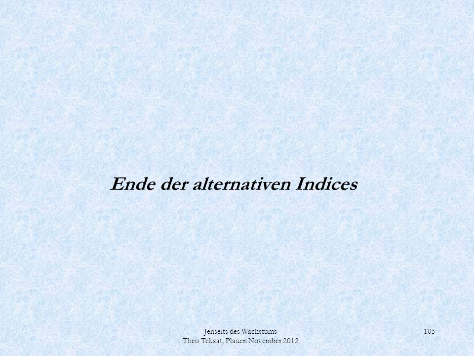 Ende der alternativen Indices