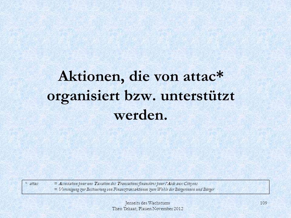 Aktionen, die von attac* organisiert bzw. unterstützt werden.