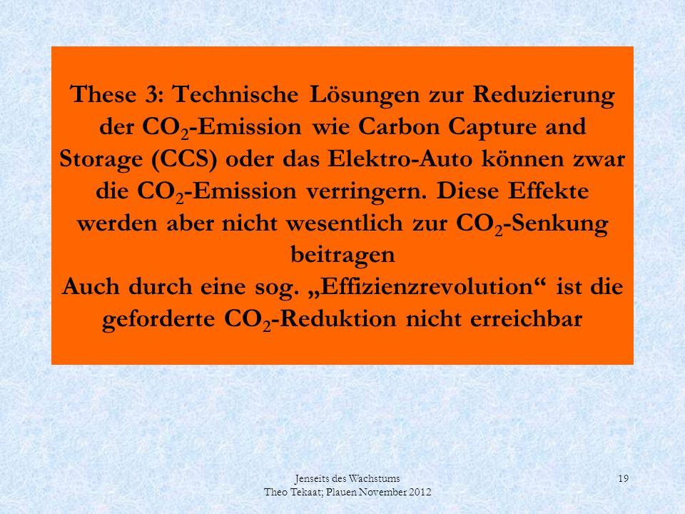 """These 3: Technische Lösungen zur Reduzierung der CO2-Emission wie Carbon Capture and Storage (CCS) oder das Elektro-Auto können zwar die CO2-Emission verringern. Diese Effekte werden aber nicht wesentlich zur CO2-Senkung beitragen Auch durch eine sog. """"Effizienzrevolution ist die geforderte CO2-Reduktion nicht erreichbar"""