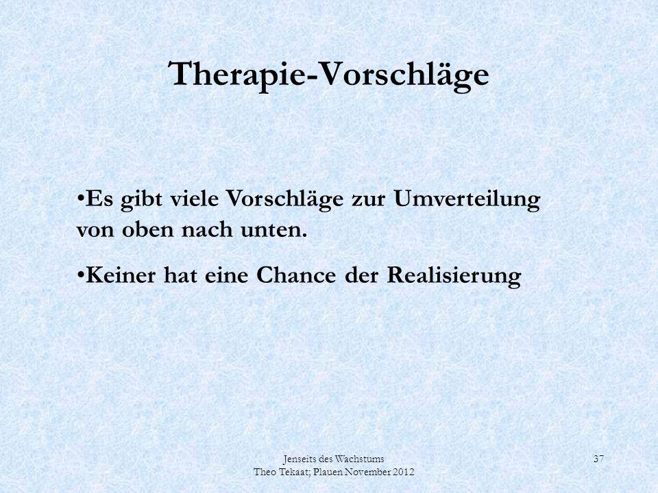 Therapie-Vorschläge Es gibt viele Vorschläge zur Umverteilung von oben nach unten. Keiner hat eine Chance der Realisierung.
