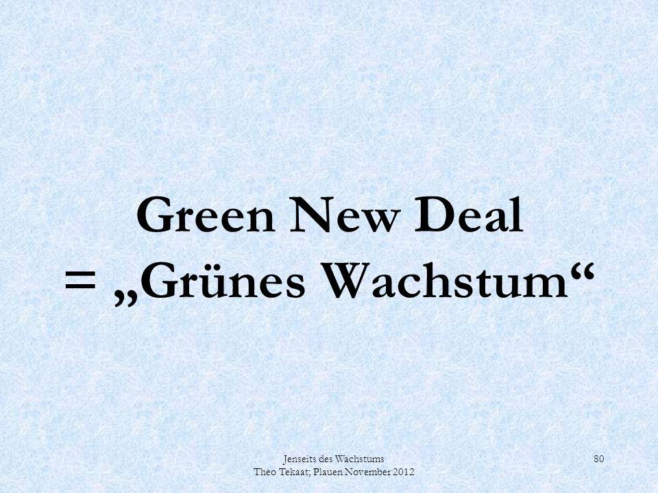 """Green New Deal = """"Grünes Wachstum"""