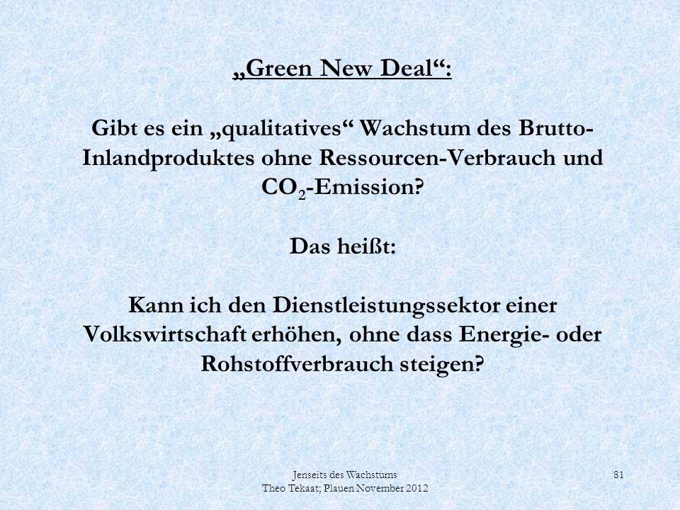 """""""Green New Deal : Gibt es ein """"qualitatives Wachstum des Brutto-Inlandproduktes ohne Ressourcen-Verbrauch und CO2-Emission Das heißt: Kann ich den Dienstleistungssektor einer Volkswirtschaft erhöhen, ohne dass Energie- oder Rohstoffverbrauch steigen"""
