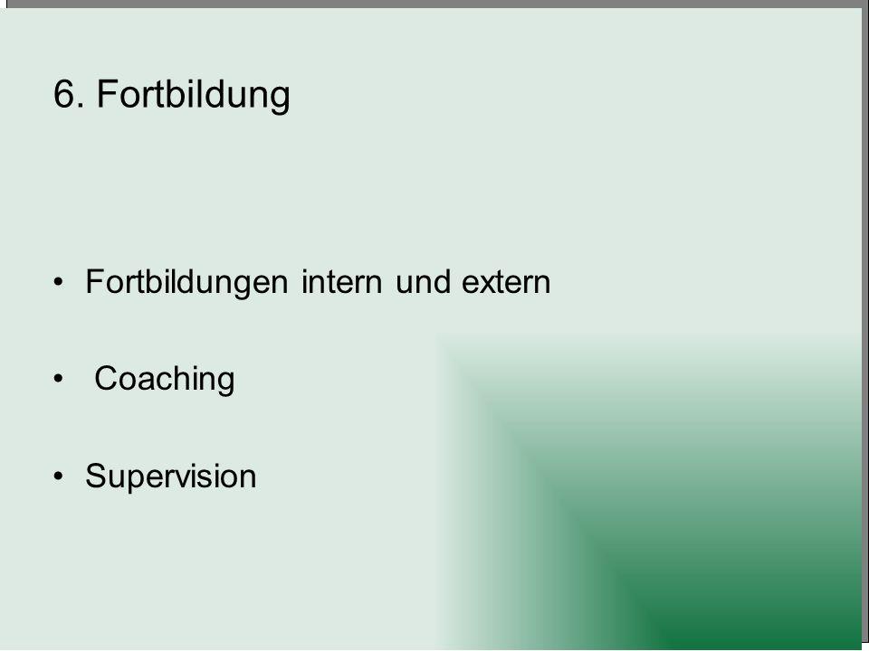 6. Fortbildung Fortbildungen intern und extern Coaching Supervision