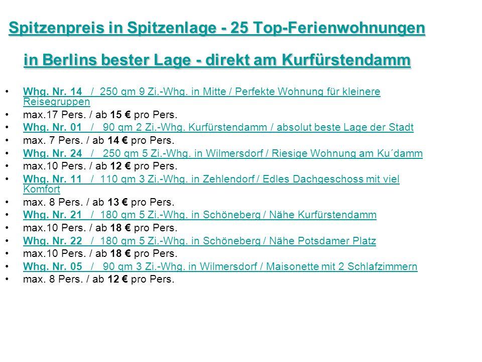 Spitzenpreis in Spitzenlage - 25 Top-Ferienwohnungen in Berlins bester Lage - direkt am Kurfürstendamm