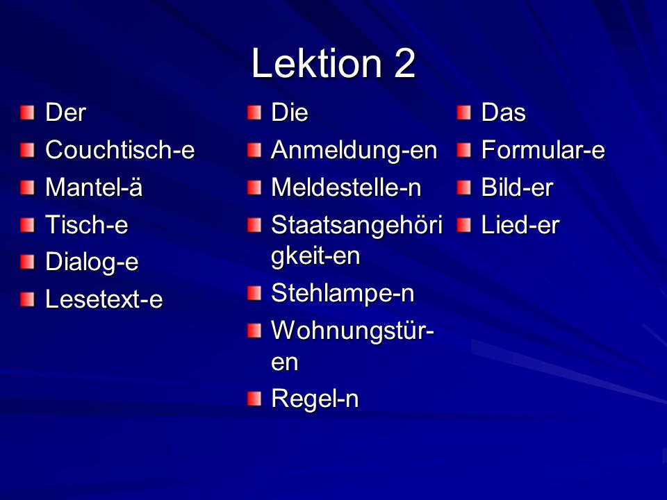 Lektion 2 Der Couchtisch-e Mantel-ä Tisch-e Dialog-e Lesetext-e Die