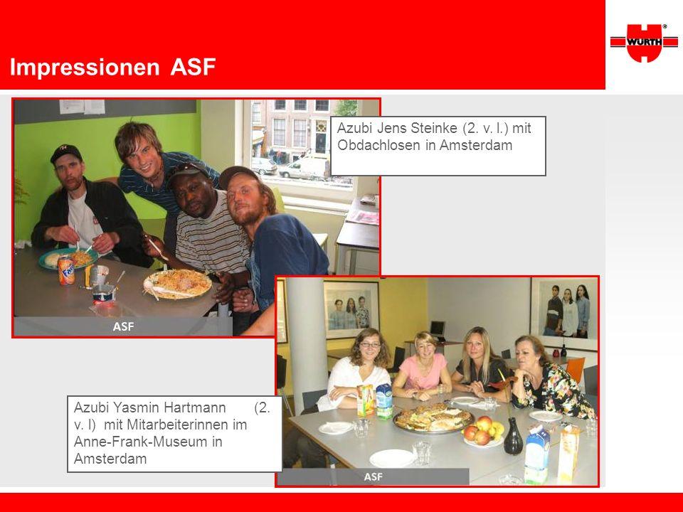 Impressionen ASF Azubi Jens Steinke (2. v. l.) mit Obdachlosen in Amsterdam.