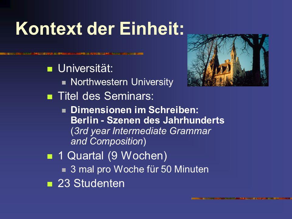 Kontext der Einheit: Universität: Titel des Seminars: