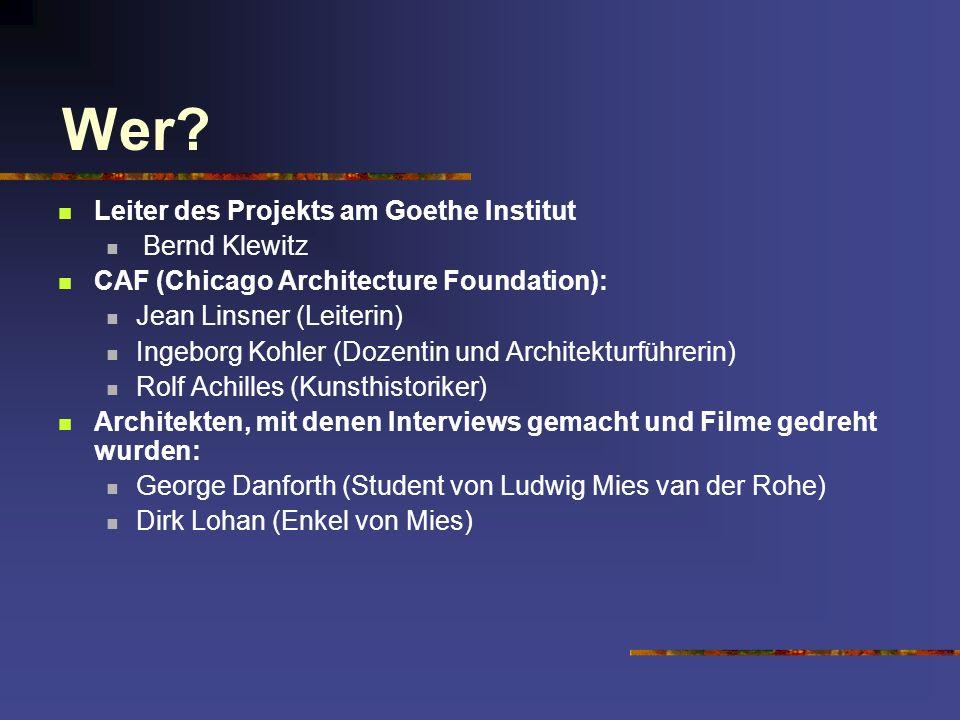 Wer Leiter des Projekts am Goethe Institut Bernd Klewitz