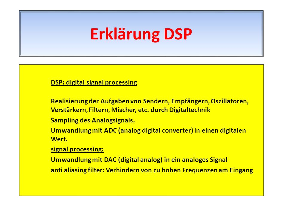 Erklärung DSP DSP: digital signal processing