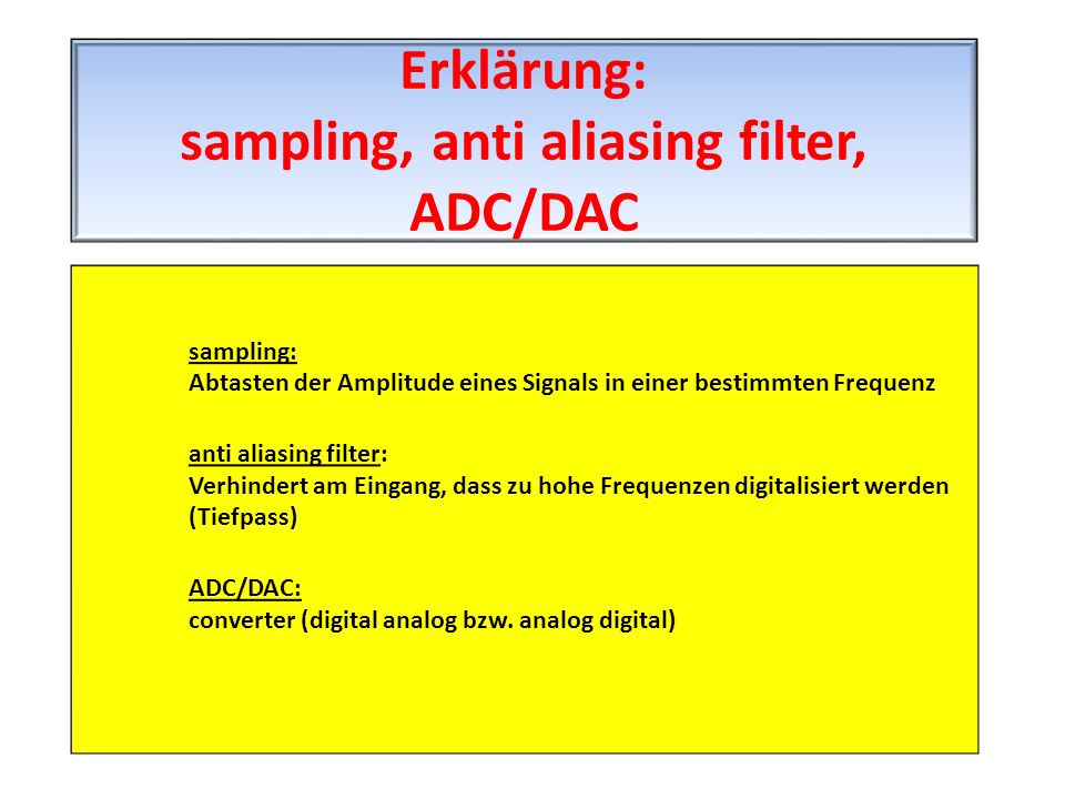 Erklärung: sampling, anti aliasing filter, ADC/DAC